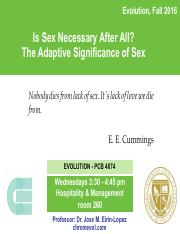 Lecture 11- Is Sex Necessary After All