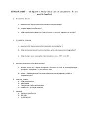 Quiz # 1 Study Guide