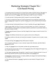 Chapter Six - Cost-based Pricing