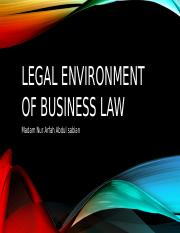 Legal environment of business law