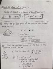 Geometry Surface Area Cone Notes