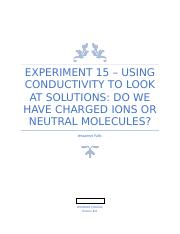 Exp. 15- Lab Writeup - Using conductivity to look at solutions