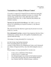 Vaccination as a Means of Disease Control Notes