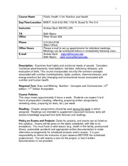 Nutrition and Health Syllabus Spring 2011(1)
