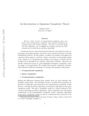 CleveQuantumComplexityTheory