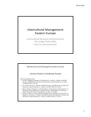 Intercultural Management Eastern Europe Session 5