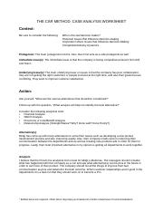 CH. 4- THE CAR FRAMEWORK--Case Analysis Worksheet