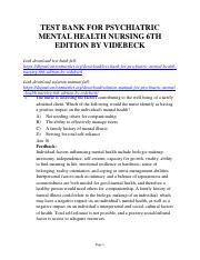 359799659 Test Bank For Psychiatric Mental Health Nursing 6th