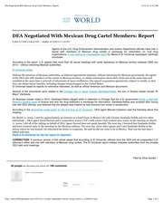 DEA Negotiated With Mexican Drug Cartel Members Report