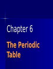 Chem C6 The Periodic Table