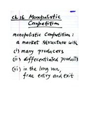 Chapter 16: Monopolistic Competition - Part One