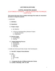 LECTURE 8A CAPITAL BUDGETING BASICS