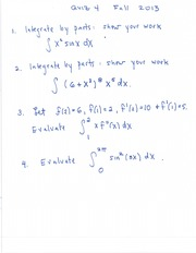 Practice Quiz on Integration by Parts