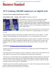 8. TCS training 100,000 employees on digital tech; to increase focus on hiring people from diverse s