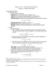 PHYS 122 Final Exam study guide