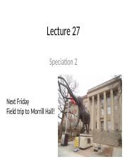 Lecture 27 - Speciation 2