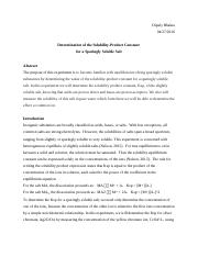 Determination of the Solubility-Product Constant  for a Sparingly Soluble Salt (11)