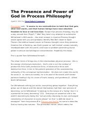 The Presence and Power of God in Process Philosophy 3