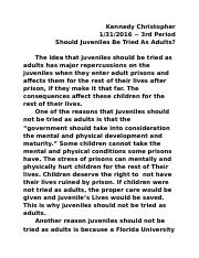 Should Juveniles Be Tried As Adults.docx