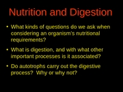 Digestion and Nutrition