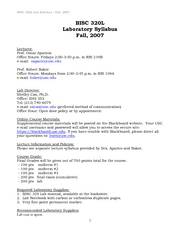 320L Lab Syllabus _Fall 2007