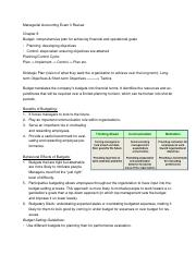 Managerial Accounting Exam 3 Review