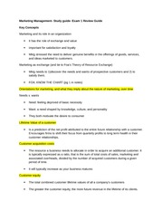Marketing Management- Study guide- Exam 1 Review Guide