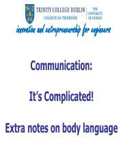 W10 Communication - Body Language - extra notes