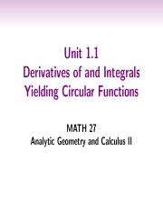 1.1. Derivatives of and Integrals Yielding Circular Functions