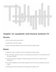 Chapter 14- Lymphatic and Immune System Crossword #2.docx