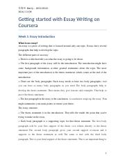 Getting started with Essay Writing on Coursera