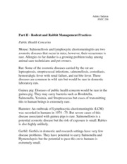 Part II - Rodent and Rabbit Management Practices Notes