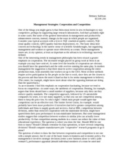 Management Strategies- Cooperation and Competition Notes