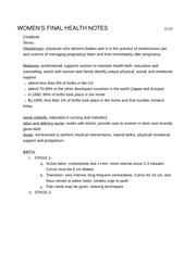 Health 471 womens health exam 3 notes
