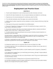 Employment Law Practice ExamQUESTIONSONLYFall14