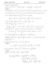 Test 3 Review Solution Summer 2014 on Calculus 1 for Engineers