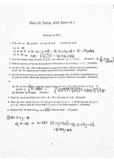 Math 23 Exam 1 Spring 2012 with responses
