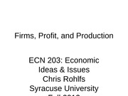 ECN 203 class 11 firms, profit, and production