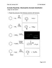 Aromatic Reactivity - Electrophilic Aromatic Substitution (Chem 3B - Summer 2014) - Key
