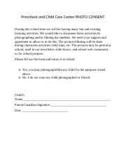 Preschool and Child Care Center PHOTO CONSENT.docx