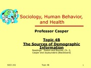 Topic 4B - The Sources of Demographic Information