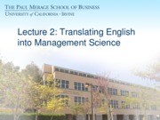 MGMT 101: Translating English Into Management Science Lecture (Lejeune)