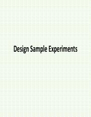 Design Sample Experiments