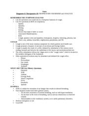 Notes Diagnoses & Therapeutics III RESPIRATORY DISORDERS and ANALYSIS 1