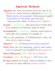 Algebraic Methods