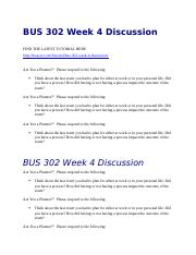 BUS 302 Week 4 Discussion