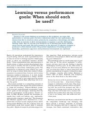 Seijts, G.H., Latham, G.P. (2005) Learning versus performance goals- When should each be used, Acade