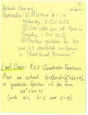 MATH 100 Spring 2013 Quadratic Functions Lecture Notes