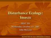 Disturbance Ecology-Insects
