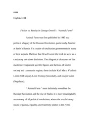 "fiction vs reality in george orwell s ""animal farm"" essay  reality in george orwell s ""animal farm"" essay english 3104 fiction vs reality in george orwells animal farm animal farm was first"